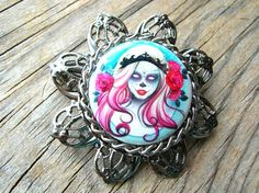 Day of the Dead Brooch - Halloween Brooch - Day of the Dead Pin - Halloween Pin - Halloween Jewelry by BohemianGypsyCaravan