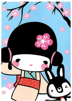 Aiko Kokeshi Doll Kawaii Postcard: Usagi
