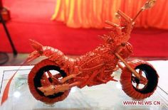 Motocycle made out of lobster shells!
