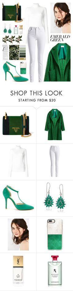 """green"" by rrnth ❤ liked on Polyvore featuring Prada, Raey, Calvin Klein 205W39NYC, Barbour International, Anne Michelle, Ross-Simons, Lime Crime, Casetify, Yves Saint Laurent and Bulgari"