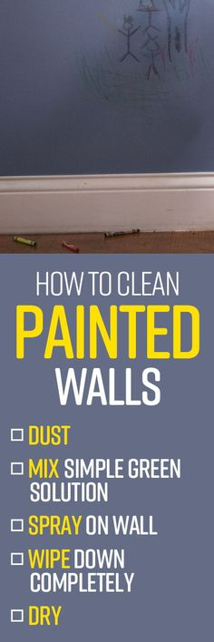 Maintain that freshly-painted look on your walls by keeping them clean and free of dust, fingerprints, stains and smudges with Simple Green All-Purpose Cleaner. Oven Cleaning Hacks, House Cleaning Tips, Cleaning Solutions, Bbq Grill Cleaner, Spring Cleaning List, Clean Grill, Cleaning Painted Walls, All Purpose Cleaners, Fingerprints