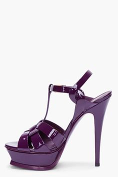 YVES SAINT LAURENT Purple Patent Tribute Heels
