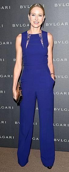 Naomi Watts wears a saaphire blue Elie Saab jumpsuit to the Bulgari Lucea unveiling