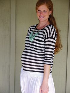 A fun look: Try a flattering striped top and a pop of color, like her turquoise necklace!