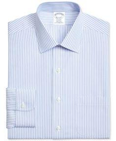 Brooks Brothers Men's Classic/Regular Fit Non-Iron Blue Stripe Broadcloth Dress Shirt - Blue 14.5 32