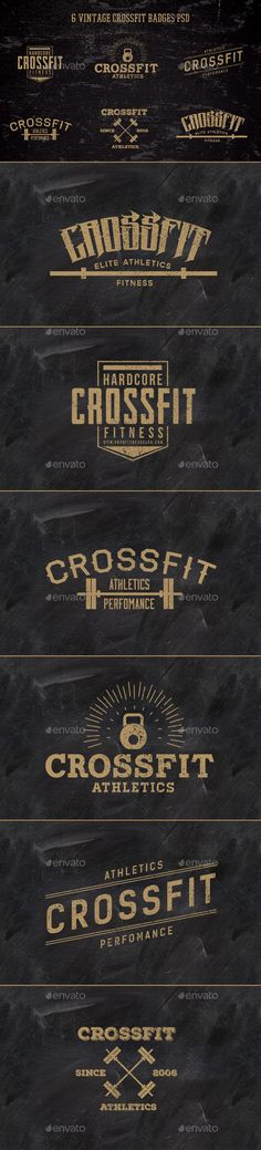 6 Vintage CrossFit Badges | #badges #vintagebadges | Download: http://graphicriver.net/item/6-vintage-crossfit-badges-/10408842?ref=ksioks