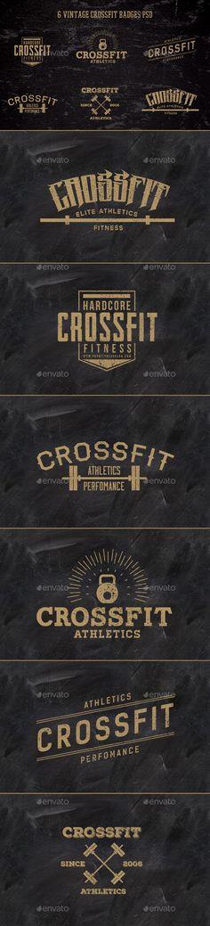 6 Vintage CrossFit Badges   #badges #vintagebadges   Download: http://graphicriver.net/item/6-vintage-crossfit-badges-/10408842?ref=ksioks