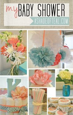My Baby Shower, Coral aqua grey