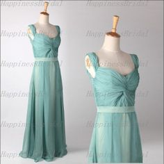 New A-line Straps Sleeveless Floor-length Chiffon Long Bridesmaid Dresses Prom Dresses Formal Evening Dresses Party Dresses 2014 With Sash