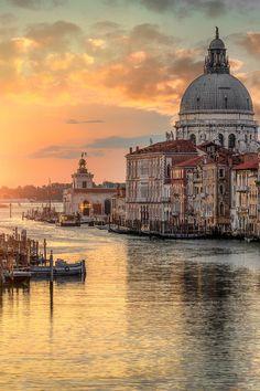 Sunrise at the Grand Canal and the Church of Santa Maria della Salute - Venice, Italy.