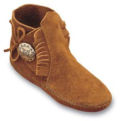 """Minnetonka Child's Brown Suede Side Tie One Button Softsole Boot.     Product # 2532    """"Moccasin soul"""" for smaller feet. Featuring genuine Minnetonka style in a compact size with soft, rich suede natural leathers. Pair them up with Mom's Suede 2-button Boots for a great look!    Color: Brown Suede    Sizes: 7, 8, 9, 10, 11, 12, 13, 1, 2, 3"""