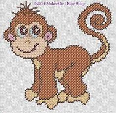 Monkey Cross Stitch Pattern by MakerMini on Etsy