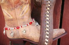 Love Heart Charms and Sparkling Red Czech Crystals Boot Jewelry, Ankle Jewelry, Cowboy Boot Bracelet, Boot Bling