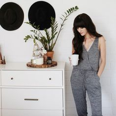 Quiet Sunday mornings. ☕️ Blogger Christina from @NewDarlings talks about her morning routine and all things ‪#‎AerieREAL‬ on the Aerie blog. (+ shop our Wrap Front Knit Jumpsuit now with the link in our bio.)