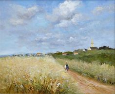 Ciel Bleu sur les Champs de Mais (Blue Sky on the But Fields)  -  Marcel Dyf  French painter 1899-1985  Impressionism