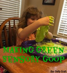 Sensory goop is fun and easy to make. This one is just corn starch and baby shampoo.
