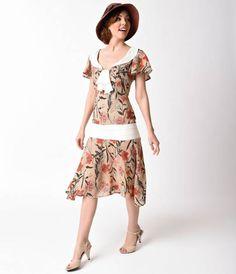 Unique Vintage 1920s Beige & Basket Weave Floral Print Wilshire Flapper Day Dress