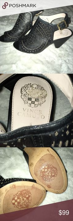 Vince Camuto open toe booties - 8 1/2 Gorgeous Vince Camuto perforated leather open toe. Pitied. Very pretty circle pattern to the perforation. Buckle closure at back and open heel. Vince Camuto Shoes Ankle Boots & Booties