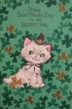 Vintage Kitty St. Patrick's Day card.