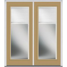 Milliken Millwork 66 in. x 81.75 in. Classic Clear RLB Full Lite Painted Fiberglass Smooth Exterior Double Door, Sandal