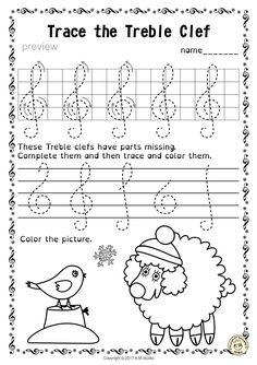 Tracing Music Notes Worksheets for Winter and Christmas from Anastasiya Multimedia Studio
