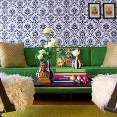 Gina Kates: Domino Magazine - Kelly green modern sofa, white and black damask wallpaper, shag ...