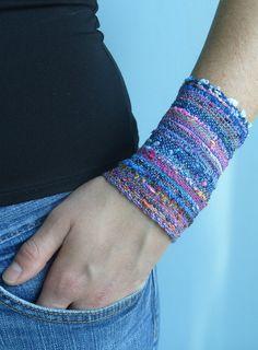Handwoven Fabric Cuff Bracelet Ripe Berries