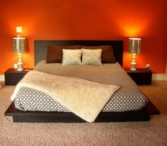 Master bedroom is the most personal space in your home, so let the colors you love be your guide to paint your bedroom. Typically master bedroom is larger than other bedroom in your home. Home Bedroom, Diy Bedroom Decor, Master Bedroom, Home Decor, Bedroom Ideas, Design Bedroom, Bedrooms, Orange Rooms, Bedroom Orange