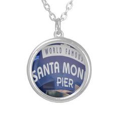 Santa Monica Venice Beach California Beach Holiday Silver Plated Necklace - jewelry jewellery unique special diy gift present