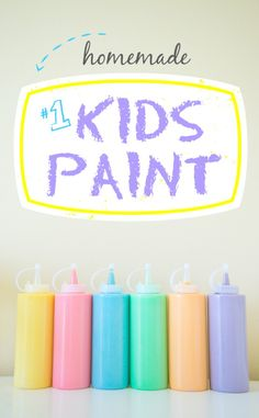 Never buy paint again! Flour, water, food coloring. 100% kids safe, and 100% easy.