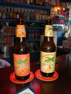 Virgin Islands Tropical Mango and Virgin Islands Summer Ale - served at Woody's in Cruz Bay, St. John - USVI