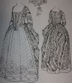 A robe a l'anglaise with an en fourreau back, c. 1770-1780, from Patterns of Fashion 1, by Janet Arnold.