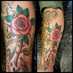 #traditionaltattoos #flowertattoos #colortattoos #traditionalsleeve #roses #rosetattoo #tattooartist #tattooshop #inklightenedtattoo #elizabeth #newjersey #nyc