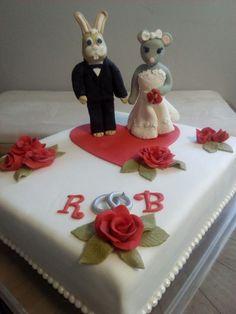 Hochzeitstorte mit Häschen und Mäuschen Figuren Cake, Desserts, Food, Wedding Cakes, Figurines, Pies, Tailgate Desserts, Deserts, Kuchen