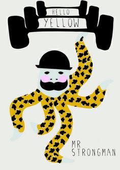 Hello Yellow Circus Octopus Mr Strongman art print - via DTLL.