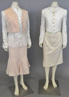 Lot 5: Ralph Lauren purple label group to include white linen jacket, peach silk vest (size 4) new with tag $595., peach linen skirt #Nadeausauction #Socialite #Luxury #Couture #Vintage #Fashion #Auction