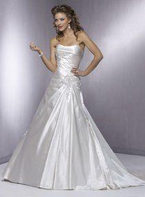 A-line Strapless Chapel Train Satin Wedding Dresses [MZ0647] - $309.00 : Cheap Wedding Gowns, Discount Bridal Gowns, China Wedding Dresses - China's Second Largest Wedding Online Store.