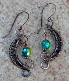 Items similar to Copper Moon Earrings, wire weaved earrings, moon earrings with glass beads, czech glass beaded moon earrings, copper dangle moon earrings on Etsy Wire Jewelry Earrings, Moon Earrings, Wire Wrapped Earrings, Crystal Jewelry, Earrings Handmade, Handmade Jewelry, Wire Jewellery, Seashell Jewelry, Wire Weaving