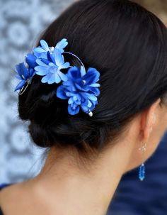Blue headpiece Floral fascinator Flower girl headband by MyArtDeco, zł40.00