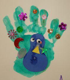 Krsna's Peacock! Beautiful hand print art.
