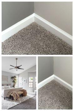 best carpet color for gray walls - Carpets Mag Grey Walls And Carpet, Grey Walls White Trim, Grey Carpet Living Room, Taupe Walls, Neutral Carpet, Wall Carpet, Gray Carpet, Bedroom Carpet Colors, Gray Bedroom Walls