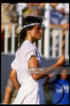 Gabriela Sabatini of Argentina stands on the court during a match at the Virginia Slims in Florida, 1991