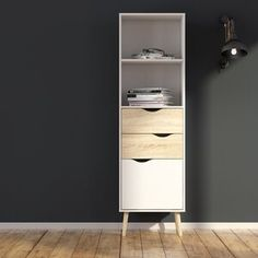 Oslo Bookcase 2 Drawers 1 Door in White and Oak. Cubby Shelves, Tall Cabinet Storage, Locker Storage, Shelf, Oslo, Solid Wood Shelves, Metal Shelves, Adjustable Shelving, Open Shelving