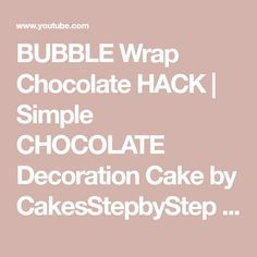Today I show a simple bubble wrap chocolate hack and how to melt chocolate at home in the microwave for a basket cake. To stay up to date with my latest vide. Chocolate Decorations, Bubble Wrap, Melting Chocolate, Cake Decorating, Bubbles, Hacks, Simple, Youtube, Melt Chocolate