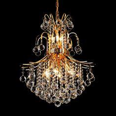 "Elegant Lighting 8002D22G/EC Toureg Collection Dining Room Hanging Fixture D22"" x H26"" Gold Finish (Elegant Cut Crystals)"