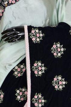 Mint Green & Dark Blue Resham Embroidered Satin & Velvet Saree-PA1130 Velvet Saree, Satin Saree, Traditional Looks, Green Stone, Sarees Online, Mint Green, Party Wear, Wedding Styles, Dark Blue