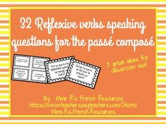 Want to get your students using reflexive verbs in the pass compos? Need help with a fun way to practice speaking?This NO PREP activity using reflexive verbs is always a favorite in my class.It can be used after learning the pass compos of reflexive verbs or as a back to school review for advancing students.There are 32 questions in all.Included also in this product are 4 other great ideas for using these questions in your class tomorrow!Here's how it works:1.
