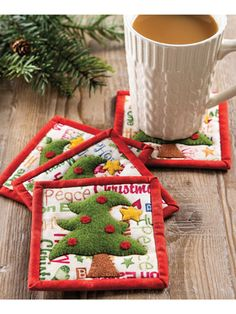 New Quilt Patterns - These cute coasters will add a touch of cheer to any table. Make several sets for instant gifts. Finished size: 4 x 4 Previously published in Quilter's World Autumn Design by Chris Malone. Christmas Log, Christmas Hearts, Christmas Ideas, Christmas Ornaments, Christmas Quilt Patterns, Star Quilt Patterns, Craft Patterns, Table Topper Patterns, Table Toppers