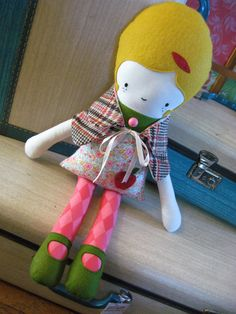 Mod Mabel Fabric Doll by whimsyvintage on Etsy