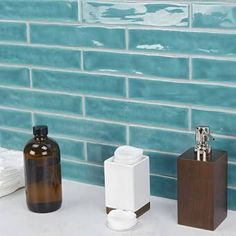 Ivy Hill Tile Newport Turquoise 2 in. x 10 in. x Polished Ceramic Subway Wall Tile pieces / sq. / - The Home Depot Ceramic Subway Tile, Glass Subway Tile, Glass Mosaic Tiles, Mosaic Bathroom, Marble Mosaic, Tropical Tile, Buy Tile, Wood Look Tile, Style Tile